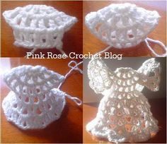 Este é o Anjo de Natal Shelf Angel do livro Our Best Christmas Thread Crochet. Traduzi e escrevi a receita. Cr...