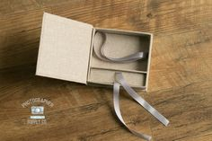 Linen and Ribbon 4x6 Print & USB Flash Drive Box Holder Perfect Photographer Photo Packaging or Small Gift Box