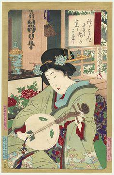 Beauty Playing a Lute by Kunichika (1835 - 1900)