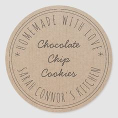 Home made with love Chocolate Chip Cookies Kraft Classic Round Sticker Cookie Packaging, Food Packaging, Pastry Logo, Biscuit Decoration, Logo Cookies, Bakery Logo Design, Cookie Company, Vintage Baking, Butter