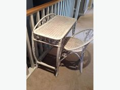 Could be used as a vanity or desk Great for girl's bedroom. From non smoking/no pet home. Wicker Table, Table And Chairs, Wicker Baskets, Used Victoria, Wicker Mirror, White Wicker, Pet Home, Girls Bedroom, Bar Stools