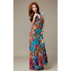 Womens Alluring V-Neckline Peacock Print Sleeveless Maxi Dress