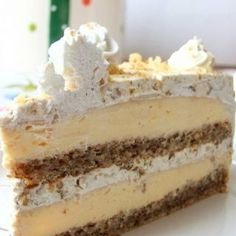 Egyiptomi álom (Egyptian Dream- walnut and vanilla cream cake) Hungarian Desserts, Hungarian Recipes, Esterhazy Torte, Fun Desserts, Dessert Recipes, How To Make Cake, Food To Make, Icebox Cake, Homemade Cakes