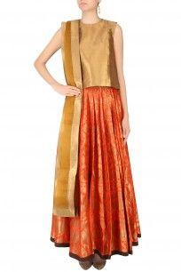 Tangerine Orange and Gold Embossed Flared Kalidaar Lehenga Skirt #lehenga #skirt #payalkhandwala #new #cottonbasics #clothing #basics #summervibes #beattheheat #perniaspopupshop #shopnow