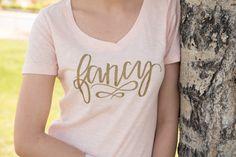 Fancy T shirt. Womens Graphic Tee. Im So Fancy. Womens Tshirt. V Neck. Blush Top.