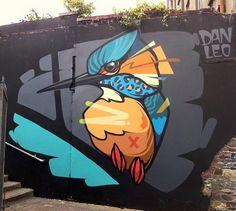 Dan Leo in Dublin, Ireland. Murals Street Art, 3d Street Art, Street Art Graffiti, Graffiti Wall Art, Urban Street Art, Amazing Street Art, Mural Wall Art, Street Artists, Graffiti Designs