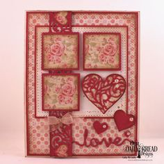 Our Daily Bread Designs Custom Dies: Heavenly Hearts, Layering Hearts, Pierced Rectangles, Pierced Squares, Love Script, Clouds and Raindrops, Paper Collection: Blushing Rose