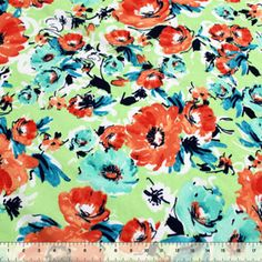 Melrose Floral Orange Baby Cotton Jersey Knit Fabric