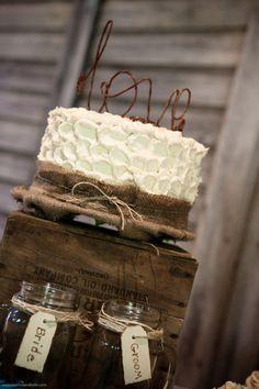 rustic burlap cake!
