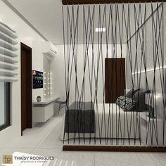 Suíte do Casal com closet e divisória de cordas ————————————————————————- Room Partition Designs, Diy Room Divider, Office Interiors, Modern Interior Design, Diy Home Decor, Bedroom Decor, House Design, Outre, Closet