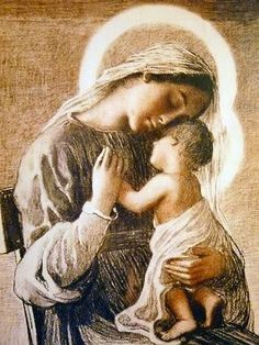 Mary holding baby Jesus with such tenderness.
