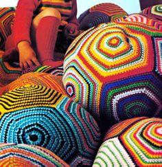 GIANT Vintage Crocheted Floor Cushion Giant Pillow Ball ~ FREE Granny Square Crochet Pattern PDF.