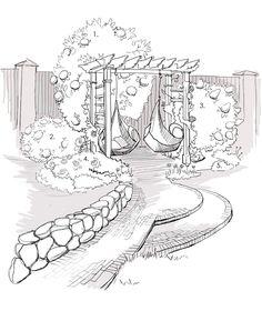 Пергола с качелями, среди цветущих кустарников — это отличное логическое завершение тропинки. 1 — Калина бульдонеж, 2 — гортензия крупнолистная, 3 — гортензия метельчатая, 4 — кустовые и плетистые розы, 5- кустарниковая лапчатка. В таком же стиле решен террасный огород с приподнятыми грядками.