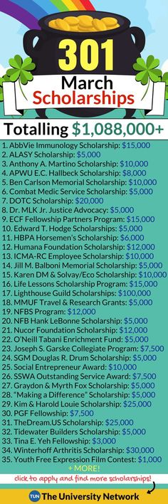 Here is a selected list of March 2018 Scholarships. #FinanceDegree
