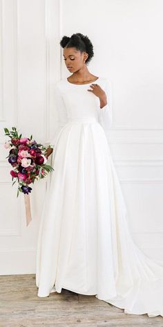 33 Cute Modest Wedding Dresses To Inspire ❤ modest wedding dresses simple with long sleeves train elizabethcooper #weddingforward #wedding #bride