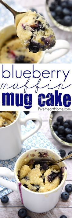 Blueberry Muffin Mug Cake ~ enjoy a fresh, warm, blueberry muffin in a mug that's ready in minutes with this simple-to-make, bursting-with-berries, breakfast or snack recipe | FiveHeartHome.com: