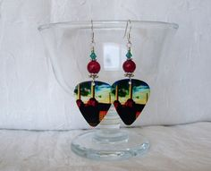 Pink Floyd Animals Guitar Pick Earrings with Red by JazziSparklies