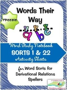 FREEBIE! Check out this new product for Derivational Relations Spellers (Words Their Way)-this freebie contains the activity sheets for sorts 1 and 22 for you to test drive
