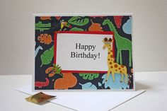 OOAK Birthday boy Safari Jungle Giraffe and Toucan card, made on recyceld paper, comes with envelope and seal, by ladybugonaleaf, $3.50