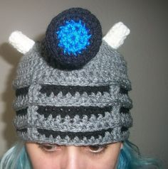 Dalek Hat - Inspired by the Daleks from Doctor Who - crochet. $35,00, via Etsy.