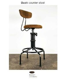 Brexton Industrial Loft Adjustable Oak Leather Cushion Counter Bar Stool - Kathy Kuo Home to set in kitchen by wall? Bar Furniture, Modern Furniture, Furniture Design, Classic Furniture, Living Furniture, Office Furniture, Vintage Furniture, Outdoor Furniture, Counter Bar Stools