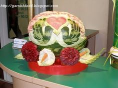 Fruit Carving Arrangements and Food Garnishes: Wedding Watermelon With Birds, Evergreen Bar
