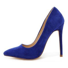 Ladies First Blue Suede Pointed Pumps found on Polyvore featuring shoes, pumps, heels, blue, heels stilettos, blue pumps, stiletto heel pumps, blue suede shoes and pointed toe stilettos
