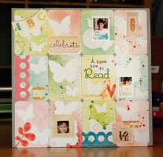 Great scrapbook page layout...love the pastel color scheme!