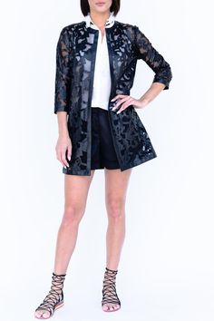 """This is a highly specialized technique. The Vegan Leather is laser cut and embroidered onto tulle lining. This Jacket/Coat can be worn over LBD or over a skinny legging; dressed up or dressed down its an investment pice you won't regret. Length from high point of shoulder size small is 34"""". Slightly fitted and tapered at the waist, this one of our best fitting jackets.   Vegan Leather Jacket by Grayse. Clothing - Jackets, Coats & Blazers - Jackets California"""