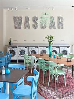 The Laundry Bar, Graaf Van Egmontstraat Antwerp, Belgium -★- Restaurant Interior Design, Cafe Interior, Commercial Design, Commercial Interiors, Cafe Design, Store Design, Laundry Shop, Coin Laundry, Cafe Bar