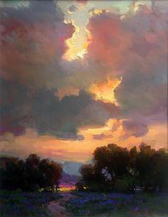 Hidden Sun - x - Oil - Ovanes Berberian Watercolor Landscape, Landscape Art, Landscape Paintings, Watercolor Art, Acrylic Paintings, Pastel Paintings, Acrylic Art, Landscape Design, Sky Painting