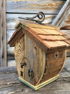The Barrel style Birdhouse is made from authentic reclaimed barnwood obtained near my home in Western Wyoming in the Valley of Grand Teton National Park. My forest home is the inspiration for my unique one of a kind functional Birdhouses. My Birdhouses are made to specification for #birdhousedesigns
