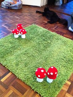 woodland rug. I like the idea of using a green rug for grass... why have I never thought of that? This would be perfect for a garden themed little girls room!