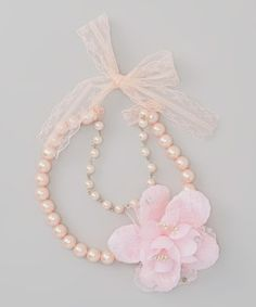 Love this Pink Pearl Flower Double-Strand Necklace by Frills du Jour on #zulily! #zulilyfinds