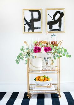 """Outstanding """"gold bar cart styling"""" info is offered on our internet site. Read more and you wont be sorry you did. Diy Bar Cart, Gold Bar Cart, Bar Cart Styling, Bar Cart Decor, Bar Carts, Diy Home Bar, Modern Home Bar, Bars For Home, Modern Coastal"""