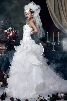 Chic A-line Sweetheart Chapel Tiered & Beaded Zaraiska's Wedding Dress