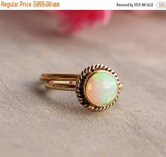 Gold Opal ring  Opal Ring  Engagement ring  Wedding by Studio1980