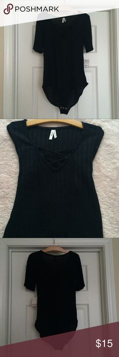 9d00dd85e1e NWT Black Lace Up Elbow Sleeve One Piece Bodysuit Brand new with tags never  worn!