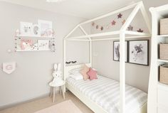 Little girls Grey bedroom with hints of Dusky PInk, creating a calm yet fun room. Wall colour Crown Cloud Burst.