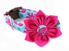Pink Damask Dog Collar Flower - Princess Damask