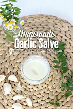 Garlic is amazing for your health, and it helps boost your immune system. It has been shown to help decrease cold instances and decrease the length of a cold. Although we add garlic to just about everything around these parts, it can be hard to get your two year old to eat a couple cloves of garlic. This salve helps this without having to ingest actual garlic. You just rub it on their feet and back or chest. #ablossominglife #naturalremedies #garliclove Natural Remedies For Arthritis, Natural Sleep Remedies, Cold Home Remedies, Cough Remedies, Homeopathic Remedies, Natural Health Remedies, Natural Cures, Natural Healing, Natural Skin