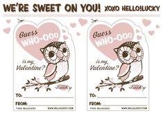 My Owl Barn: Hello Lucky: Printables Free Valentine Cards, Printable Valentines Day Cards, Free Printable Cards, Valentine's Day Printables, Valentine Day Love, Vintage Valentines, Valentine Crafts, Homemade Valentines, Valentine Ideas