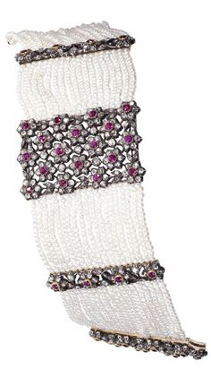 AN EXCLUSIVE NATURAL PEARL, RUBY AND DIAMOND BRACELET, FRENCH CIRCA 1880