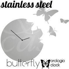 Orologio da Muro Butterfly Rotondo in acciaio inox con 3 Farfalle da appendere al muro