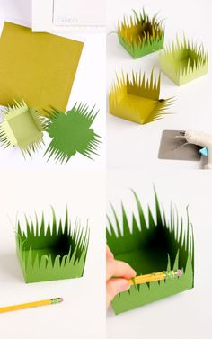 Grass Paper Boxes (free cut files!) // www.deliacreates.com