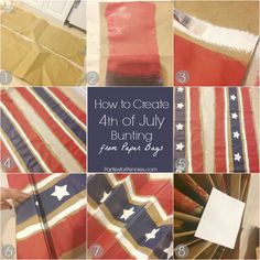 4th of July Decorations | Bunting made from a paper bag from Heidi Rew of PartiesforPennies.com | #4thofjuly #patrioticdecoration