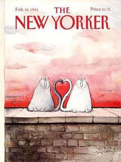 The New Yorker Cover - February 1991 Poster Print by Ronald Searle at the Condé Nast Collection The New Yorker, New Yorker Covers, Cover Art, Ronald Searle, Magazin Covers, My Funny Valentine, Vintage Valentines, Art Design, Book Design