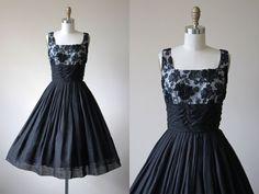 1950s Dress - Vintage 50s Dress - Black Cotton Voile Illusion Lace Shelf Bust Cocktail Party Prom Dress S - Little Earthquakes Dress