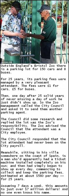 "Outside EngTand's Bristo] Zoo there ""is a parking Tot for 150 cars and 8 buses. For 25 years, its parking fees were managed by a very attendant. I Smile, Make Me Smile, Are You Serious, Thing 1, Just For Laughs, That Way, Laugh Out Loud, The Funny, In This World"