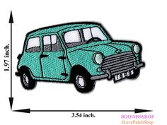 'Green Classic Mini Cooper Mini Car Patch' Iron on Patch 1.97'x3.54' Appliques Hat Cap Polo Backpack Clothing Jacket Shirt DIY Embroidered Iron on / Sew on Patch ** Want to know more, click on the image.